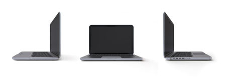Metalic laptop 3-in-1 views. 3d isolated objects on white background, it series Stock Photos