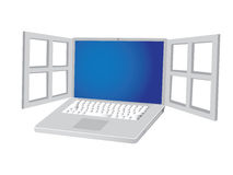 Metalic laptop with open window Royalty Free Stock Photography