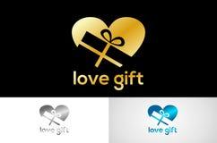 Metalic love gift logo  Royalty Free Stock Images