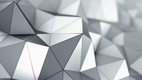 Metalic low poly surface 3D rendering. Metalic low poly surface with black edges. Abstract polygonal shape. 3D rendering with DOF stock illustration