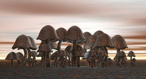 Metalic mushroom cluster Royalty Free Stock Photography