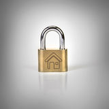 Metalic padlock with home icon on grey background , home securit Stock Photos