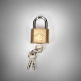 Metalic padlock with home icon on grey background , home security Royalty Free Stock Photo