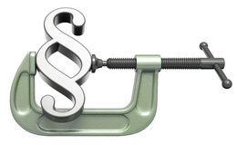 Paragraph symbol squeezed in a clamp stock photo