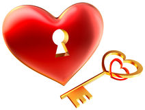 Metalic red heart with keyhole as symbol of love Royalty Free Stock Images