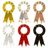 Metalic Ribbons. Beautiful award ribbons isolated on white Stock Image