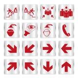 Metalic safety sign set. Metallic red safety sign set Royalty Free Stock Image