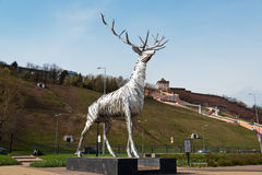 Metalic sculpture, Deer, the symbol of Nizhny Novgorod Stock Image
