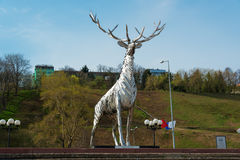 Metalic sculpture, Deer, the symbol of Nizhny Novgorod Stock Photography