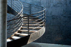Metalic spiral stair. In parking Royalty Free Stock Image
