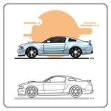 Metalic super car side view vector illustration