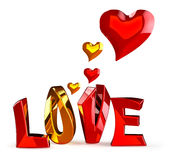 Metalic word LOVE with hearts Royalty Free Stock Photography
