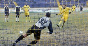 Metalis - zakarpatie. voetbal gelijke Stock Foto
