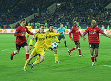 Metalist与Metalurh Zaporizhya足球比赛 免版税库存图片