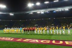 Metalist哈尔科夫对迅速维恩足球比赛 免版税库存照片