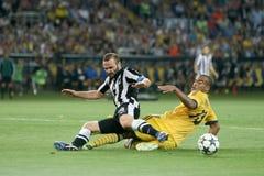 Metalist αγώνων ποδοσφαίρου εναντίον του paok στοκ εικόνες