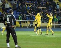 Metalist εναντίον του αγώνα ποδοσφαίρου Metallurg Ntone'tsk Στοκ φωτογραφία με δικαίωμα ελεύθερης χρήσης