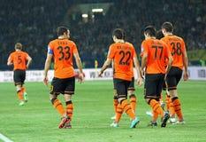 Metalist εναντίον του αγώνα ποδοσφαίρου Shakhtar Ntone'tsk Στοκ Εικόνα