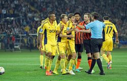 Metalist contre le match de football de Shakhtar Donetsk Photos stock