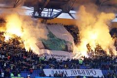 Metalist contro la corrispondenza di calcio di Dnipro Fotografie Stock Libere da Diritti