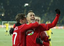 Metalist - Debreceni UEFA-Fußbalabgleichung Lizenzfreie Stockbilder