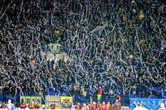 Metalist fans. KHARKIV, UKRAINE - OCTOBER 21: Metalist fans during Metalist Kharkiv vs. Sampdoria Genoa Group stage (Group I) UEFA Europa League football match ( Royalty Free Stock Photos