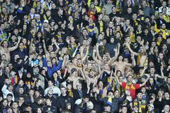 Metalist fans. KHARKIV, UKRAINE - OCTOBER 21: Metalist fans during Metalist Kharkiv vs. Sampdoria Genoa Group stage (Group I) UEFA Europa League football match ( Royalty Free Stock Image