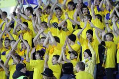Metalist fans support their team Stock Photos