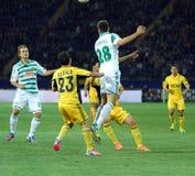 Metalist Járkov contra partido de fútbol rápido de Wien Imagen de archivo