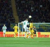 Metalist Járkov contra partido de fútbol rápido de Wien Fotografía de archivo