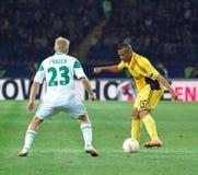 Metalist Kharkiv contre le match de football rapide de Wien Images stock