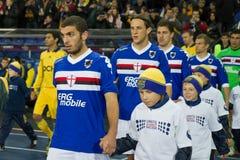 Metalist Kharkiv gegen Sampdoria Genua lizenzfreie stockbilder