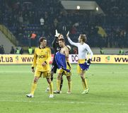 Metalist Kharkiv players celebrating victory Royalty Free Stock Image