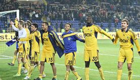 Metalist Kharkiv players celebrating victory Royalty Free Stock Photos