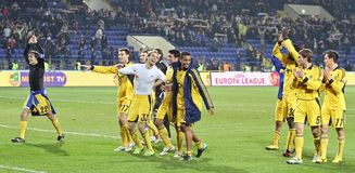 Metalist Kharkiv players celebrating victory Royalty Free Stock Photo