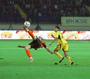 Metalist Kharkiv versus Shakhtar voetbalgelijke Royalty-vrije Stock Foto's