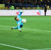 Metalist Kharkiv vs Bayer Leverkusen match. KHARKIV, UA - NOVEMBER 22: Bayer Leverkusen GK Bernd Leno in action during UEFA Europa League Group stage (Group K) Stock Photography