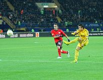 Metalist Kharkiv vs Bayer Leverkusen match Royalty Free Stock Images
