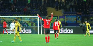 Metalist Kharkiv vs Bayer Leverkusen match Stock Photos