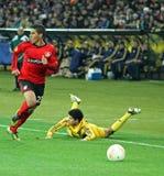 Metalist Kharkiv vs Bayer Leverkusen match Royalty Free Stock Photography