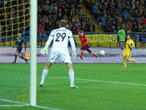 Metalist Kharkiv vs Bayer Leverkusen match. KHARKIV, UA - NOVEMBER 22: Bayer Leverkusen MF Dominik Kohr (C) in action during UEFA Europa League Group stage ( Stock Images