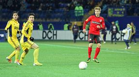 Metalist Kharkiv vs Bayer Leverkusen match Royalty Free Stock Photos