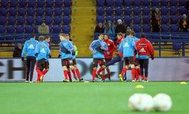 Metalist Kharkiv vs den Bayer Leverkusen matchen royaltyfria foton