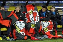 Metalist Kharkiv vs den Bayer Leverkusen matchen royaltyfri fotografi