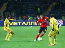 Metalist Kharkiv vs den Bayer Leverkusen matchen arkivfoto