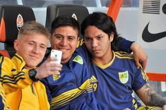 Metalist players are making a photo by phone Stock Photo