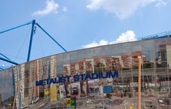Metalist Stadium, Kharkov, Ukraine. The stadium hosts Football Club Metalist Kharkov and will host UEFA EURO Championship in 2012 Stock Photos