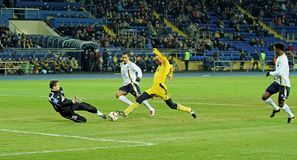 Metalist vs. Metallurg Donetsk football match Royalty Free Stock Image