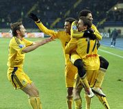Metalist vs. Metallurg Donetsk football match Royalty Free Stock Photography