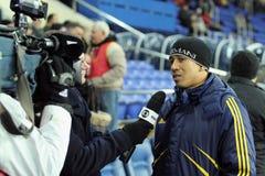 Metalist vs. Metallurg Donetsk football match Royalty Free Stock Photos